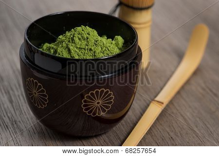 Japanese Tea Ceremony Setting On Wooden Bench.