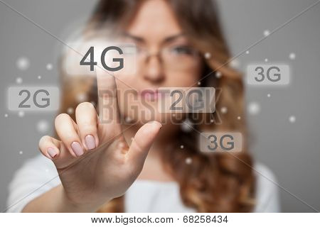 woman pressing 4g touchscreen button