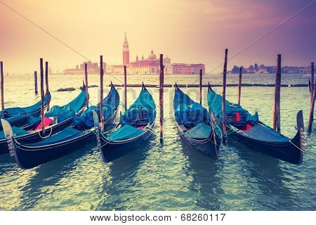 Amazing view of Grand Canal at sunset with San Giorgio Maggiore church. San Marco, Venice, Italy, Europe. Beauty world. Retro style. Instagram toning effect.