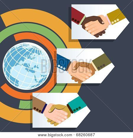 Worldwide multiethnic business handshakes