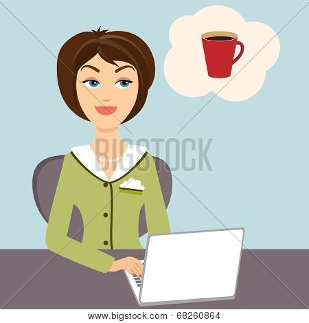 Secretary with mug of hot coffee