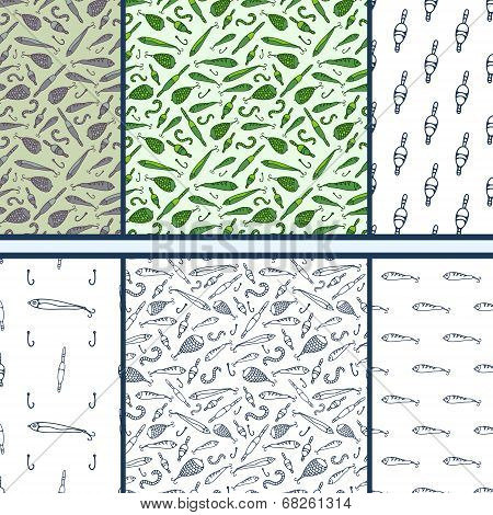Fishing doodle - set of vector seamless patterns