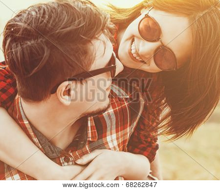 Woman Embraces A Man, With Sunlight Effect