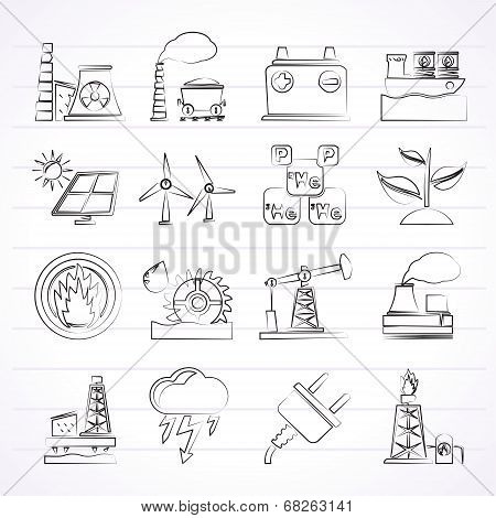 Electricity and Energy source icons
