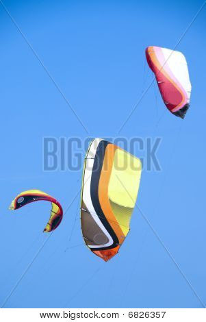 Kitesurfers Kites Add Colour