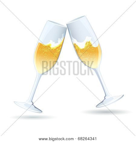Two flutes of golden bubbly champagne