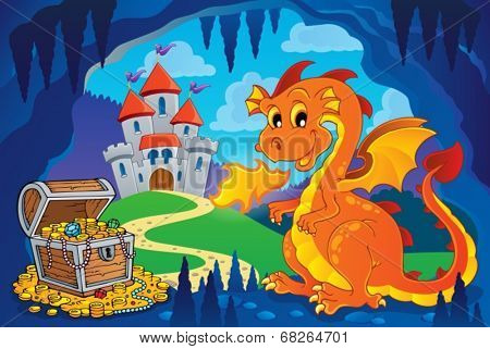 Fairy tale image with dragon 7 - eps10 vector illustration.