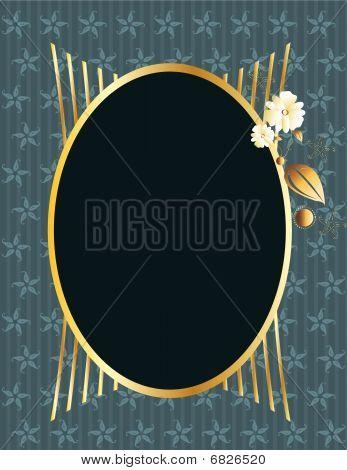 Blue gold oval frame