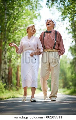 Happy seniors talking and having fun while taking a walk in the park