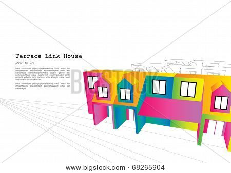 Colourful double story terrace