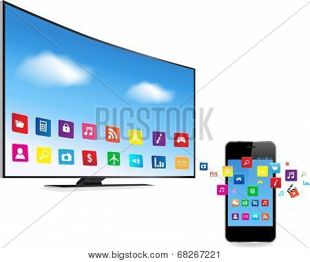 Smart Tv And Smart Phone With Apps