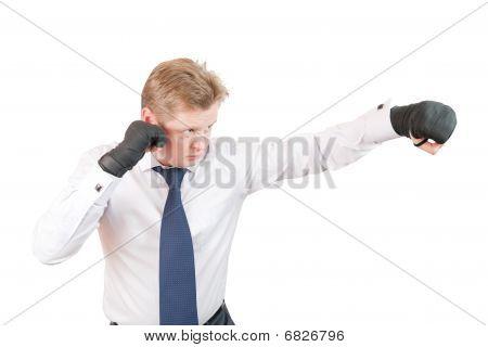 Aggressive Businessman Boxer