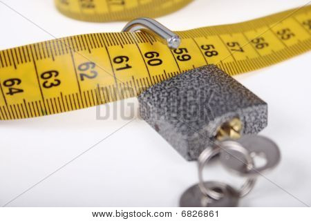 The Open Padlock On A Measuring Tape