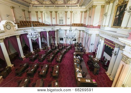 SACRAMENTO, CALIFORNIA - July 4, 2014:  Interior of the California State Senate meeting room in the state capitol building in Sacramento, California.