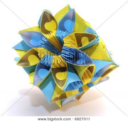 "Origami Kusudama ""blue And Yellow"" Flower"