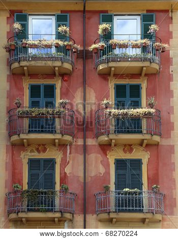 SANTA MARGHERITA, ITALY - MAY 04: Colorful painted buildings in Santa Margherita Ligure is a comune (municipality) in the province of Genoa in the Italian region Liguria on May 04, 2014