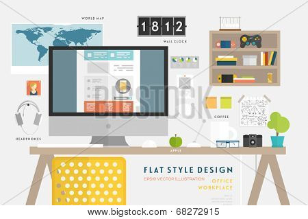 Set of Flat Style Vector Icons. Office Workplace Elements Concept for Business Design. Workflow Items, Office Things, Equipment and Objects. Developer or Designer Workspace