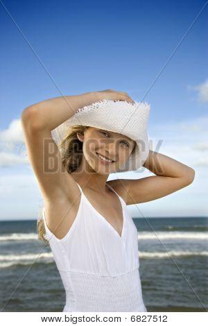 Teen Girl At The Beach