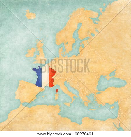 Map Of Europe - France (vintage Series)