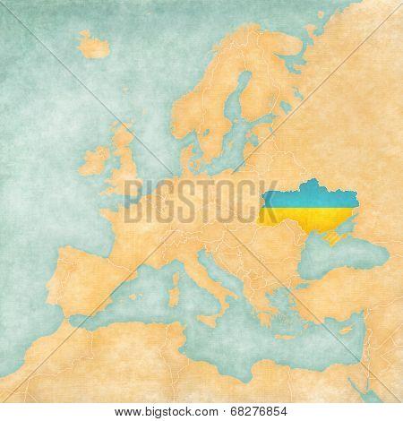 Map Of Europe - Ukraine (vintage Series)