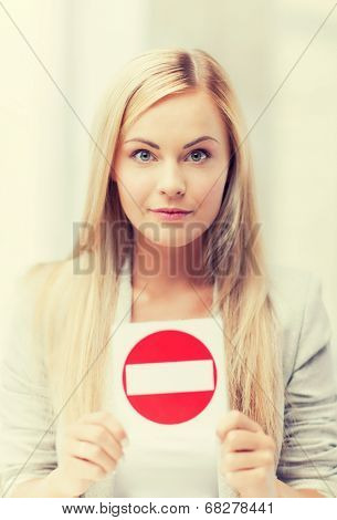 picture of woman with no entry sign ..