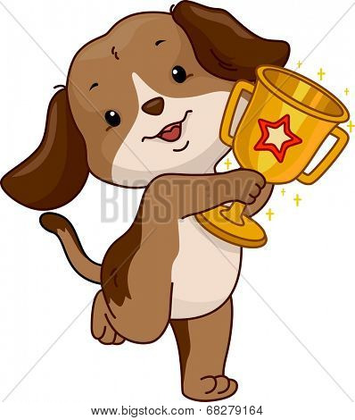 Illustration of a Cute Dog Proudly Displaying His Trophy