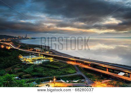 Panoramic View Of Beach Skyline And Highway
