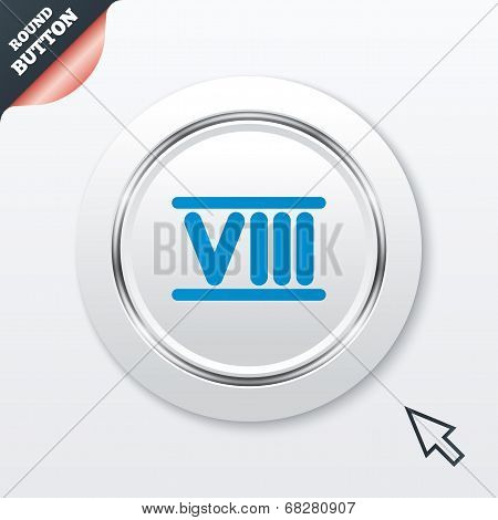 Roman numeral eight icon. Roman number eight sign.