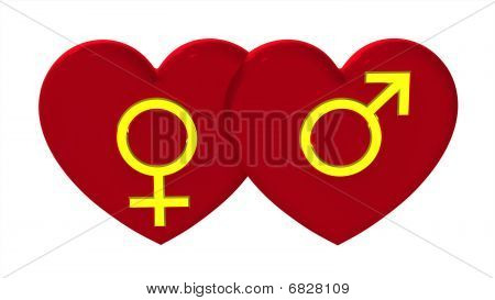 Male And Female Sex Symbols With Hearts