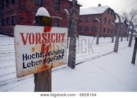 Warning sign at the nazi concentration camp Auschwitz