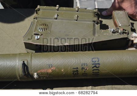 KIEV, UKRAINE - JULY 13, 2014  Captured from Eastern regions during Civil War  Polish anti airckraft rocket launcher Grom - evidence Polish supply of insurgents. July 13, 2014 Kiev, Ukraine