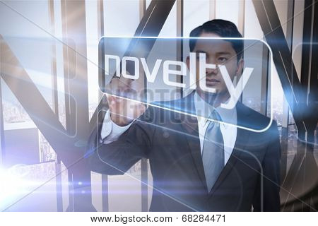 Businessman presenting the word novelty against room with large window looking on city