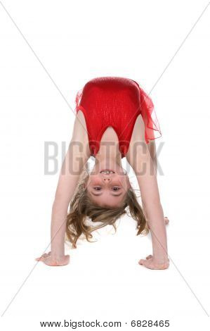 Young Girl Bent Over Backwards In Gymnast Or Dance Position