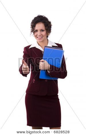 Business Woman With Files Shows Ok