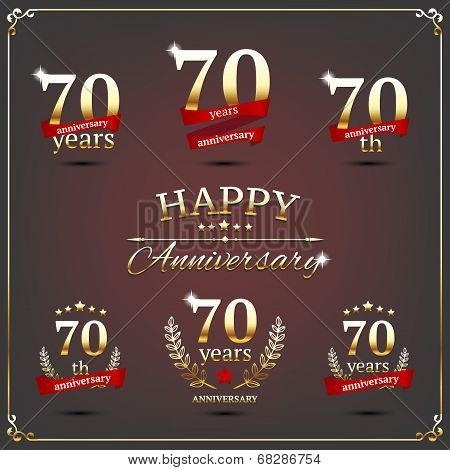 Seventy years anniversary signs collection