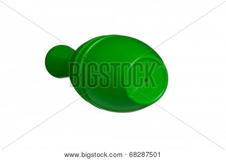 Single plastic skittle of toy bowling isolated on a white background