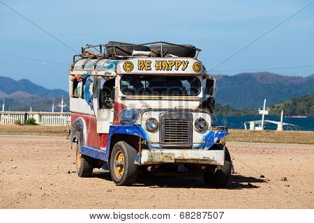 Jeepneys passing Philippines