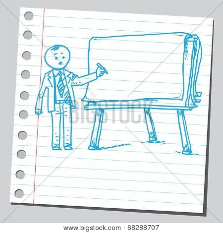 Businessman write on flip chart