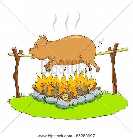 Pig on a spit