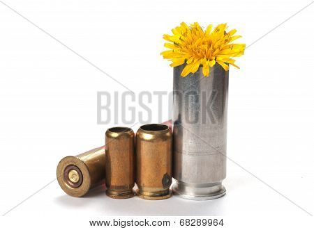 Peace Not War Used Bullet Casings With Flower