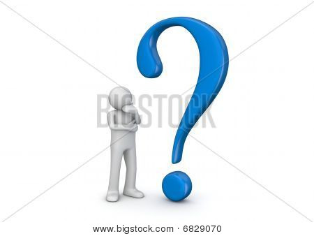 3D Human And Blue Question Mark