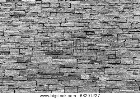 Horizontal aspect of a Stone Wall in Black and White