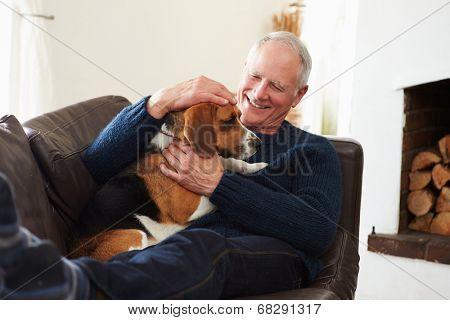 Senior Man Relaxing At Home With Pet Dog