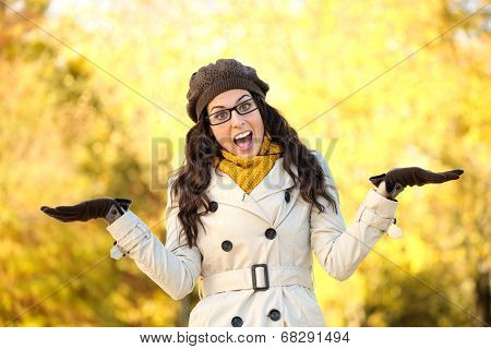 Autumn Fashion Woman Doing Showing Gesture