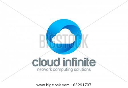 Web Cloud computing infinity network vector logo design template.