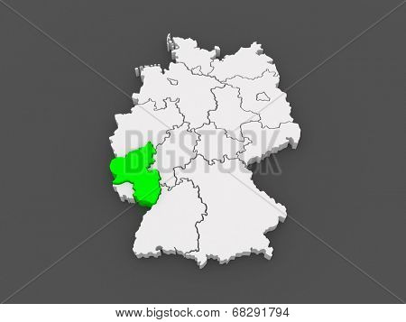 Map of Rheinland-Pfalz. Germany. 3d