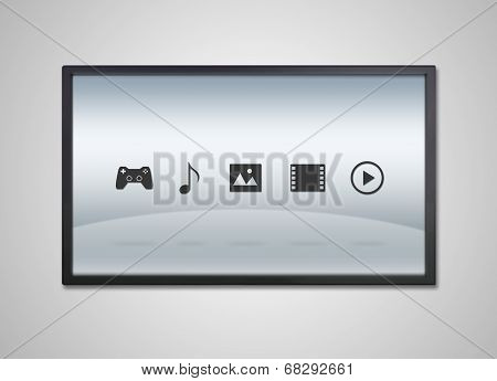 Tv Display With Entertainment Icon