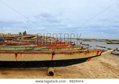 Africa Senegal Atlantic Coast Fishermen Boats