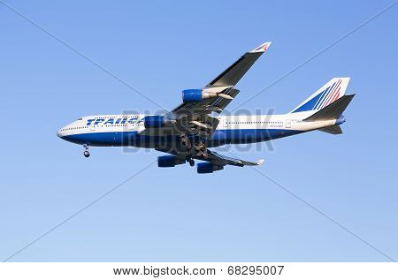 The Boeing-747 plane of Transaero airline sits down at the Sheremetyevo airport
