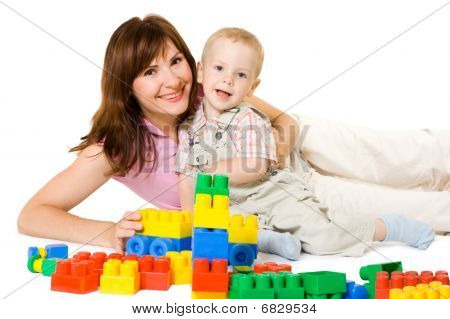 Family Playing With Constructor